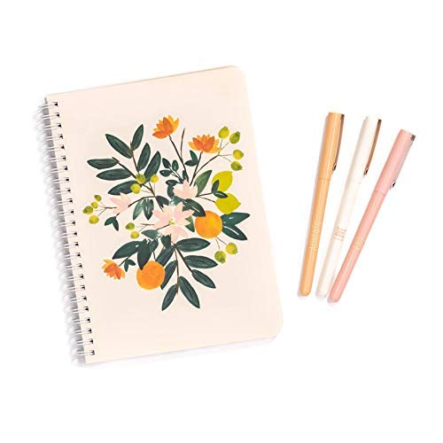 (Steel Mill & Co Black Ink Pen Set of 3 and Mini Spiral Notebook with Pockets and 160 Pages, Citrus)