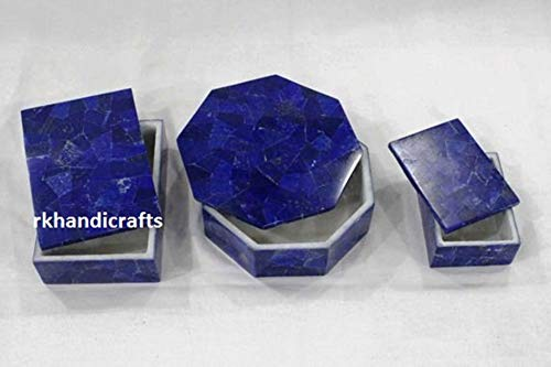 White Rectangle and Octagon Marble 3 Pieces Set Jewelry Box Multi Use Box Inlay Art with Lapis Lazuli Cottage Handicrafts Box 1-6 x 4 Inches, Box 2-4 x 3 Inches, Box 3-6 Inches Diameter
