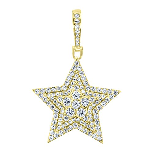 Jewels By Lux Yellow-tone Sterling Silver Mens Round Cubic Zirconia CZ Star Cluster Charm Pendant Set With The Highest Quality Cubic Zirconia. (Round Prong Set Cluster Pendant)