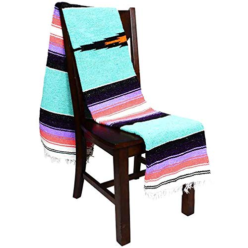 Open Road Goods Mint Mexican Yoga Blanket - Heavyweight Mexican Diamond Blanket - Navajo Style Blanket, Extra Thick Serape with Stripes- Mint with Coral and Pastel Purple