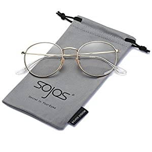 SojoS Small Round Clear Lens Unisex Metal Frame Eyeglasses Glasses SJ1014 3447 With Gold Frame/Clear Lens