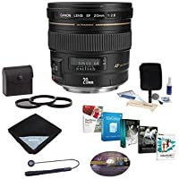 Canon EF 20mm f/2.8 USM AF Ultra Wide Angle Lens Kit - USA - Bundle with 72mm Filter Kit (UV/CPL/ND2), Lenscap Leash, Lens Wrap (15x15), Cleaning Kit, Professional Software Package