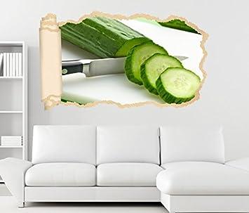 3D Wandtattoo Gemüse Gurke Gurken Grün Scheiben Tapete Wand Aufkleber  Wanddurchbruch Deko Wandbild Wandsticker 11N1939,