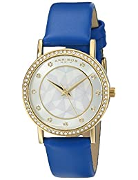 Akribos XXIV Women's AK791BU Crystal-Accented Gold-Tone Watch with Blue Leather Band