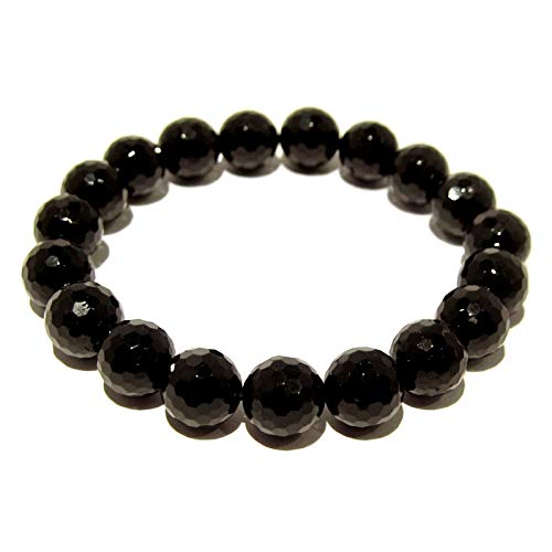 - I Dig Crystals Tourmaline Black Bracelet 9mm Boutique Faceted Genuine Round Gemstone Handmade Stretch Sparkling B02 (7