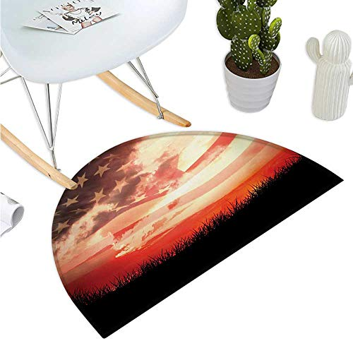 - American Flag Semicircular Cushion Flag Against Red Horizon on Grass Park Field Identity Sunset Ethnic Design Bathroom Mat H 15.7