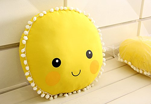 (Cute Sun Smile Face Pattern Cushion Baby Pillow Toys Sleeping Dolls Kids Room Bed Sofa Decoration Gift)