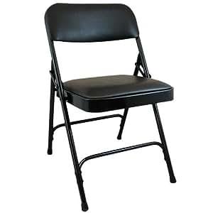 Amazon Com Black Padded Metal Folding Chair Black 1 In