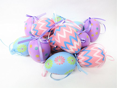 Primitive Spring - Stag Lane Primitives New Set Lot 12 Spring Pastel Decorated Easter Eggs Ornaments w/Ribbon Hanger