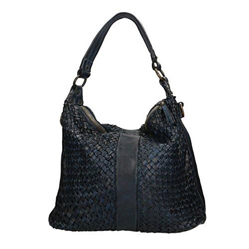 Pelle Donna Chicca Blu Borse Borsetta Vera a in in Pochette Spalla Elegante da Genuine 100 Made Cm 40x30x13 Leather Italy r0v4Hvxqn