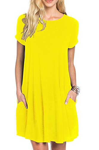 TINYHI Women's Swing Loose Short Sleeve Tshirt Fit Comfy Casual Flowy Tunic Dress,Yellow