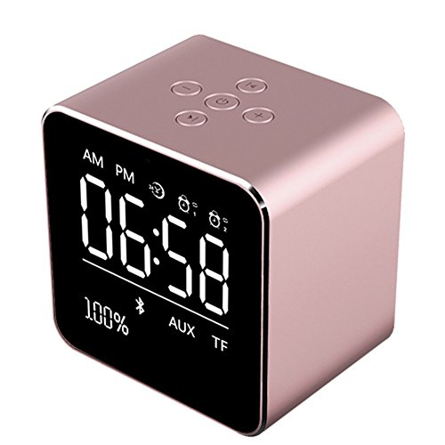 - Wireless Bluetooth speaker,BOOMER VIVI Metal Mini Square Portable Speaker 2 sets of Alarm Clock LCD Screen 8H Playing Time TF Card for iPhone 6/6S/7 Indoor Outdoor (Rose Gold)