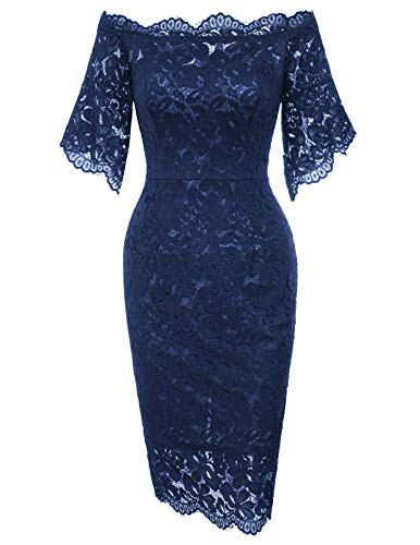 Womens Lace Cocktail Pencil Dress for Special Occasions S Navy Blue