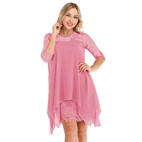 Lace Half Sleeve Dress for Women - New Solid Color Fashion Overlay Flowy Breathable Chiffon Dresses Oversize S-5XL -