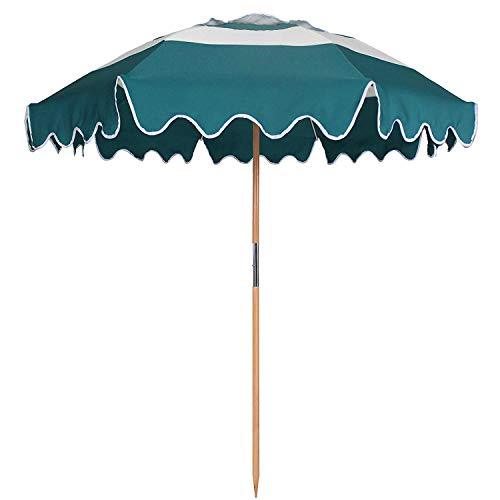 - AMMSUN 7.5ft Fiberglass Ribs Commercial Grade Patio Beach Umbrella with Air- Vent Ash Wood Pole & Carry Bag Teal/White