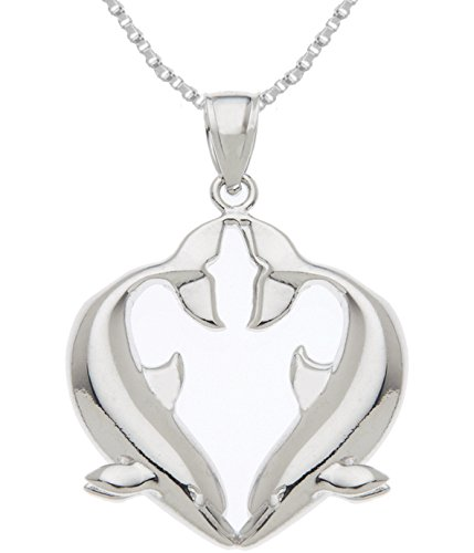 US Jewels And Gems Solid 0.925 Sterling Silver Kissing Dolphins Charm Pendant 2.6mm Box Chain Necklace - Dolphin Solid Sterling Silver Necklace