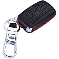 KMT Calfskin Genuine Leather Car Remote Key Fob Case Holder Cover Shell fit Land Rover/Discovery 4/lr4/Range Rover/Evoque Smart Key (Pack of 1 In Black+Red Stitching)