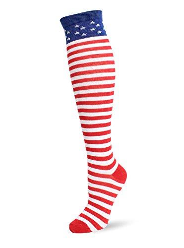 Jasmino Patriotic American Flag Stars & Stripes Socks for Womens Mens 1-3 Pairs (1Pair USA Knee High (Star Knee Socks)