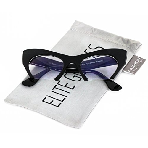Cat Eye Eyeglasses Women Retro Vintage Razor Clear Lens Style Half Cut Off Frame (Black, ()