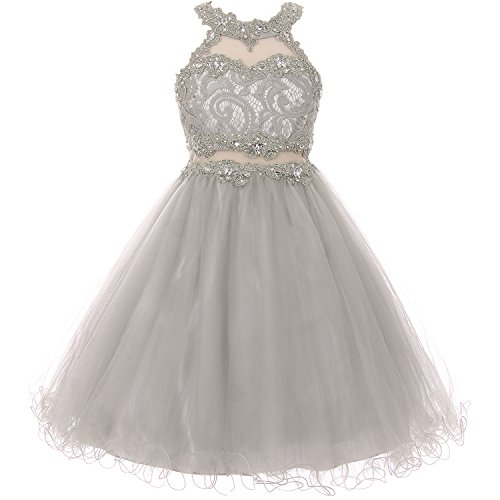 Rhinestone Bodice (Big Girls Short Length Dazzling Halter-Neck Hand Beaded Rhinestones Bodice Wired Tulle Skirt Flower Girl Dress Silver - Size 12)