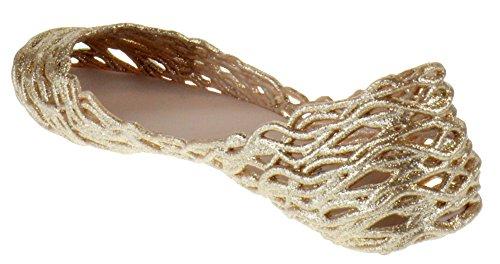 Top Moda Kora 1 Donna Glitter Intagliata Gelatina Punta A Punta Appartamenti Champagne