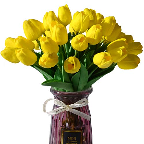 (LUYAR 30 PCS Yellow Artificial Real-Touch Tulips, Fake Tulips Flowers - Holland Mini Faux Flowers Tulips Great for Wedding Party Home & Outdoor Decor)