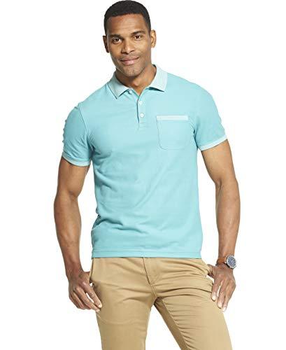 Van Heusen Men's Slim Fit Never Tuck Short Sleeve Solid Polo Shirt, Porcelain, Small