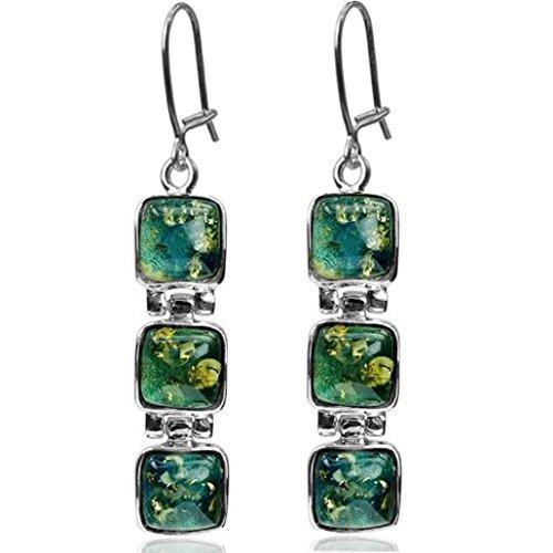 Light Blue Green Amber Sterling Silver Square Sky (Silver Green Amber Earrings)