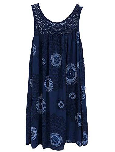 Navy Sundress Floral Sleeveless Tank Beach Women Dress zhaoabao Flared AU blue Splice Lace xP6wOqZ