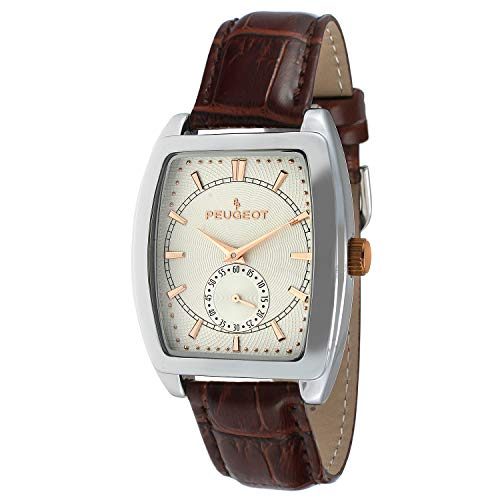(Peugeot Men's 2027 Two-Tone Watch with Embossed Leather Strap)
