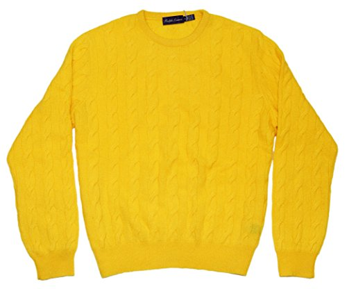 Polo Ralph Lauren Purple Label Cashmere Crewneck Cable Sweater Yellow Italy XL by RALPH LAUREN