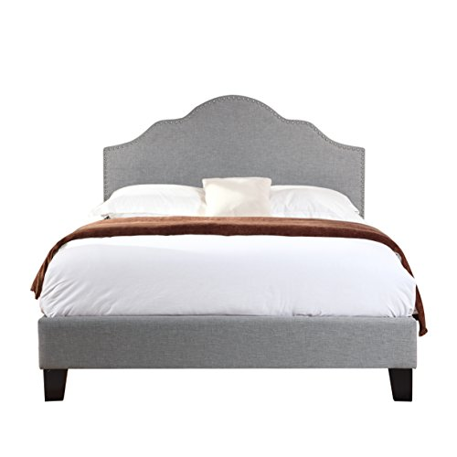 Artum Hill BE4-554 Victoria Upholstered Bed, Full, Light (Border Upholstered Bed)
