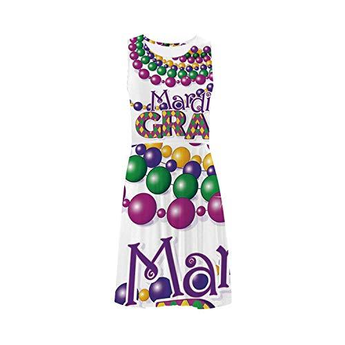 Mardi Gras Stylish Sleeveless Ice Skater Dress,for Skating,XS-3XL (Mardi Gras Line Melamine Dinnerware)