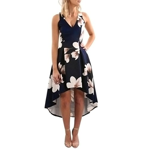 Goddessvan Women Summer V Neck Floral Print Party Beach Long Maxi Dress (S, Blue)