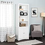 Prepac WSBH-0004-1 Tall Bookcase with 2 Shaker Doors, White