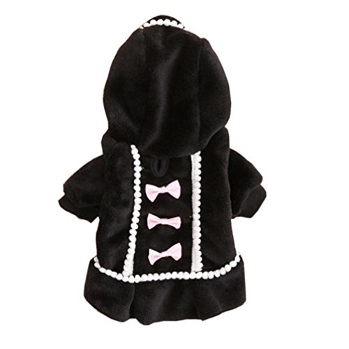 Mikey Store Dog Coat Jacket Pet Supplies Clothes Winter Apparel Puppy Costume (Black, XS) ()