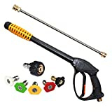 EDOU 4000 PSI High Pressure Power Washer Gun Power Spray Gun, 19 Inch Extension Replacement Wand Lance, 5 Quick Connect Spray Nozzles Tips