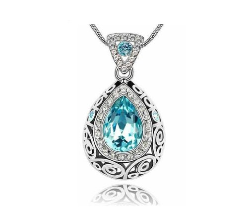 KATGI Fashion Austrian Crystal Angel Teardrop Pendant Necklace