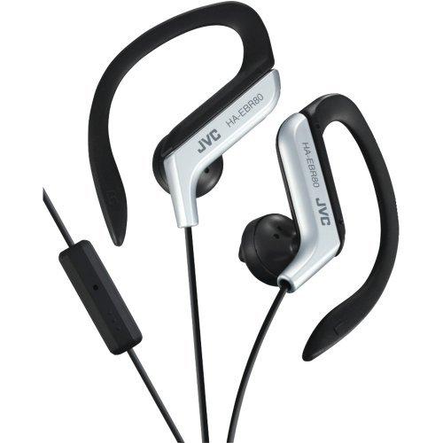 Silver Sportclip (1 - Sport-Clip In-Ear Ear-Clip Headphones with Microphone & Remote (Silver), Sport ear-clip headphones with microphone & remote, Bass-boosting earpieces, HAEBR80S)