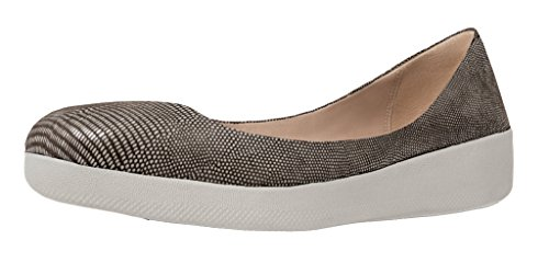 FitFlop Women's Superballerina in Lizard-Print Suede Flats Chocolate Brown (Lizard Print Sandal)
