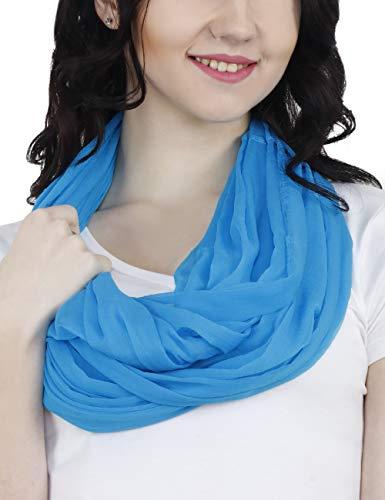 (TC Solid Color Soft Lightweight Chiffon Silk Feel Luxury Infinity Scarf India)
