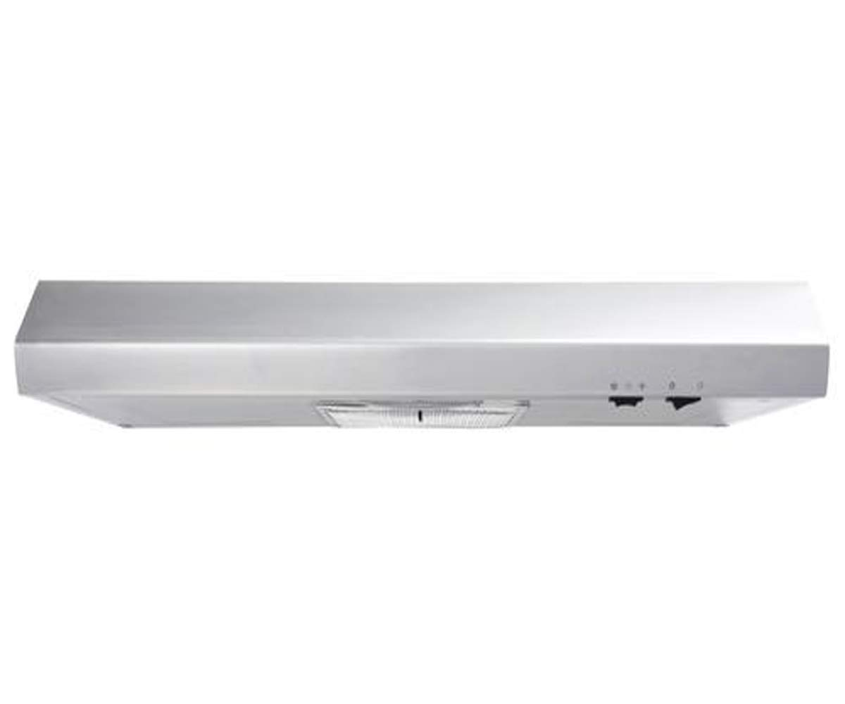 Undercabinet 160 CFM Range Hood with Convertible Vent, Mechanical Control Type and 2 Speed Fan - Indoor and Outdoor Venting - Aluminum and Charcoal Filter - 18''L x 29''W x 4''H (Stainless Steel)