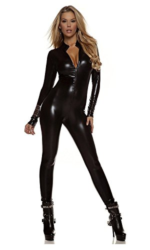 Women's Shiny Liquid Metallic Wet Look Zipper Front Catsuit (OneSize, Black)