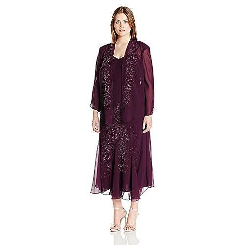 Purple Plus Size Dress with Jacket: Amazon.com