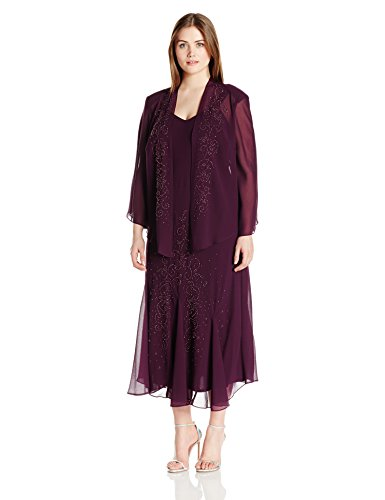 Plus 2 Piece Jacket Dress - R&M Richards Women's Plus Size 2 Piece Chiffon Beaded JKT Dress, Eggplant, 20W