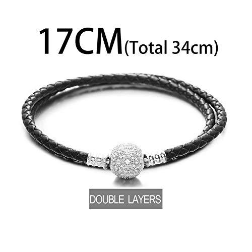Gabcus Black Leather Bracelet 925 Sterling Silver Bracelets BZSL003 - (Metal Color: Double Layer 17CM)