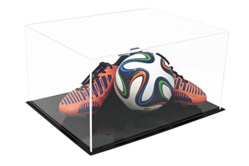 Better Display Cases Versatile Acrylic Clear Display Case - Large Rectangle Box with Black Base 15.25
