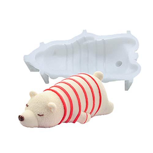 3D Polar Bear Silicone Cake Baking Mold Fondant Chocolate Candle Ice Cream Molds Cooking Decoration Tools Baking Mould (Polar Bear) (Bear Cake Mold)