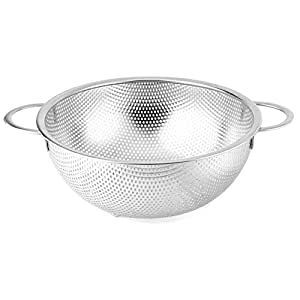 Stainless Steel Mesh Kitchen Strainer Colander Sifter Sieve Double Handle Silver