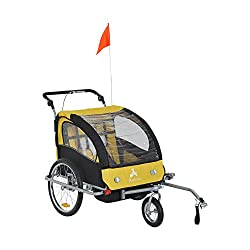 Aosom Elite II 3in1 Double Child Bike Trailer Stroller & Jogger - Yellow